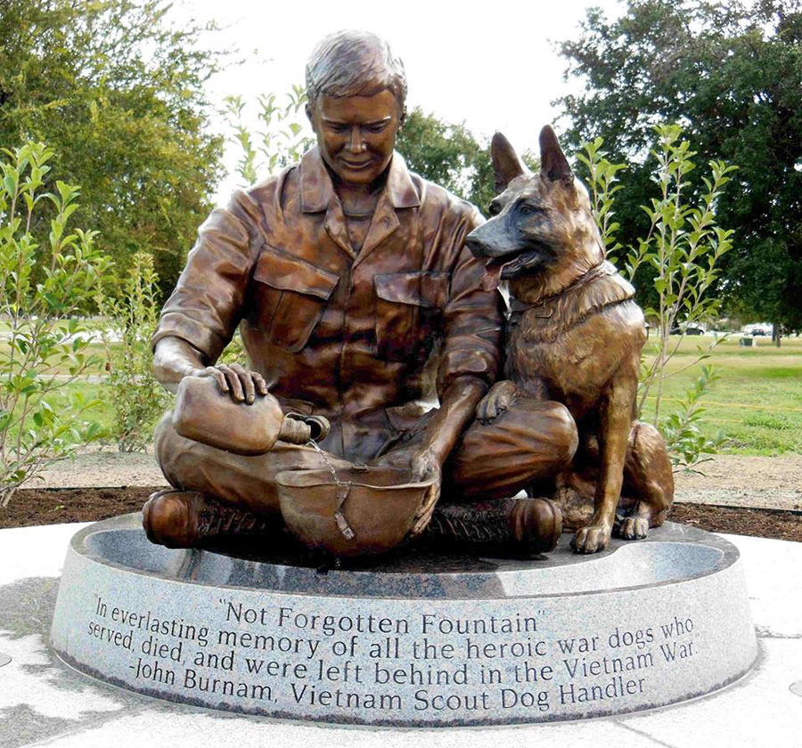 Military Dog Handler and War Dog Bronze Statue