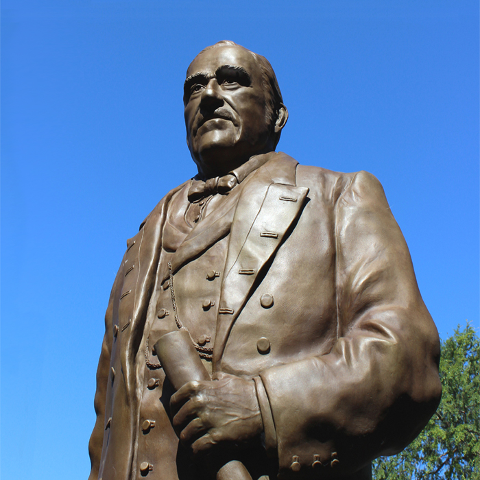 Public Art Monument by Paula Slater of Don Salvio Pacheco, 7ft High Bronze Portrait