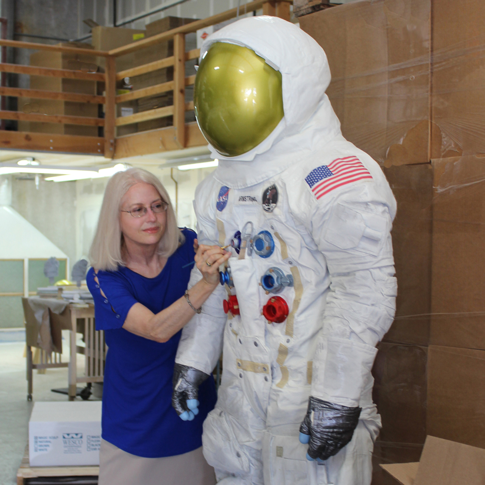 Armstrong Spacesuit Statues, MLB Parks, Paula Slater Sculpture, Resin Roto-Casting